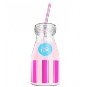 Yum Yum!! Pink Drinking Bottle With Straw