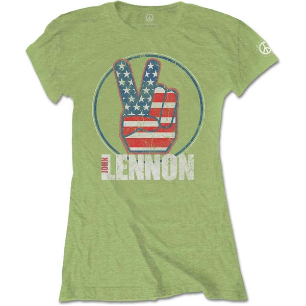 John Lennon - Peace Fingers US Flag Women's Large T-Shirt - Kiwi Green
