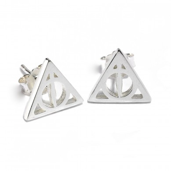 Sterling Silver Deathly Hallows Stud Earrings