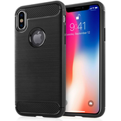 Apple iPhone X Carbon Fibre TPU Case Silicone Cover - Black
