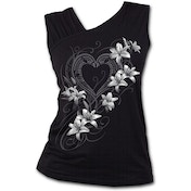 Pure of Heart Women's Large Gathered Shoulder Slant Vest Top - Black