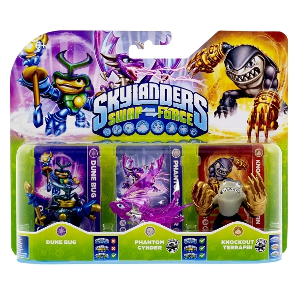 Dune Bug, Phantom Cynder, and Knockout Terrafin (Skylanders Swap Force) Triple Character Pack