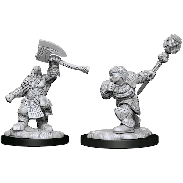 Magic the Gathering Unpainted Miniatures (W14) Dwarf Fighter & Dwarf Cleric
