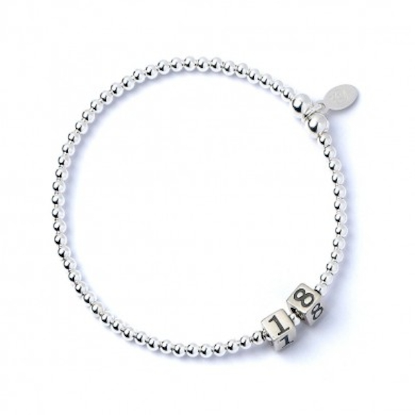18 Number Cubes with Sterling Silver Ball Bead Bracelet