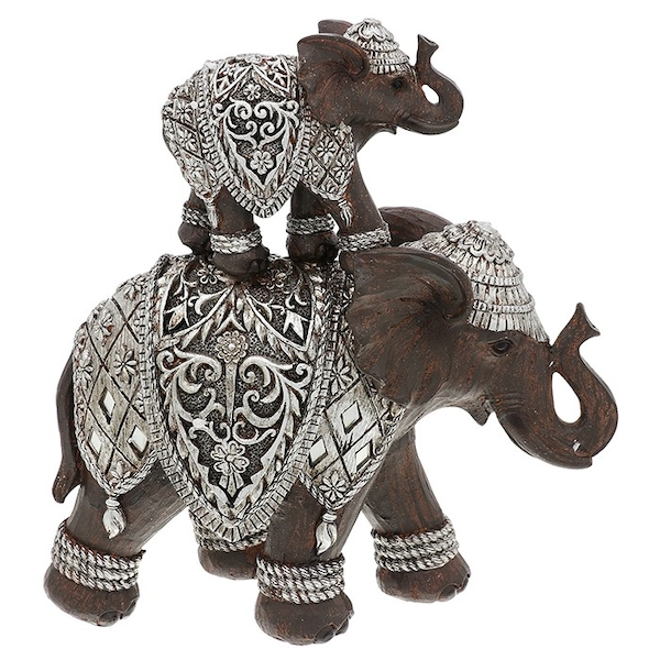 Silver Iron Elephant Mum/Baby Back Ornament