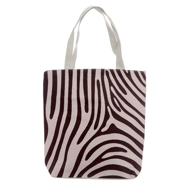 Wild Life Zebra Print Cotton Bag with Zip and Lining