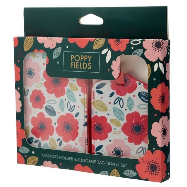 Poppy Fields Passport Holder and Luggage Tag Set