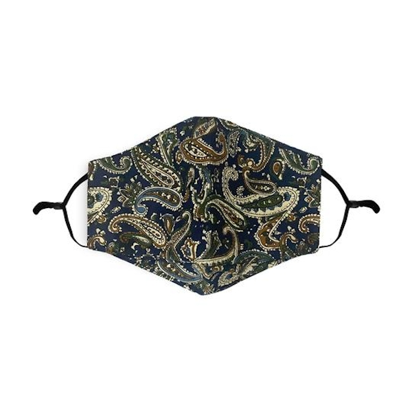 Blue/Tan Paisley Pattern Printed 100% Cotton Face Mask