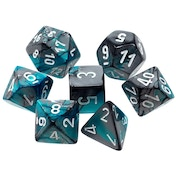Chessex Gemini Poly 7 Dice Set: Steel-Teal/White