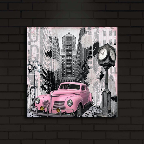 4040?ACT-13 Multicolor Decorative Led Lighted Canvas Painting Pink Car