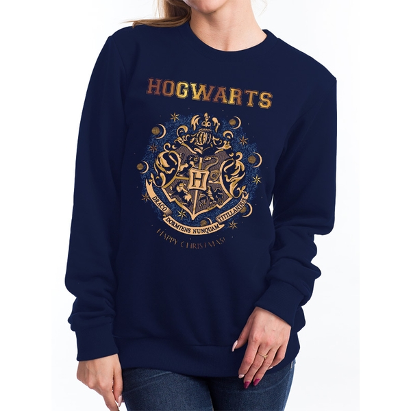Harry Potter - Women's Christmas At Hogwarts Sweater (Navy)