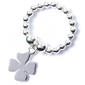 Four Leaf Clover Charm with Sterling Silver Ball Bead Ring