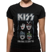 Kiss - Made For Lovin Women's Large Fitted T-Shirt - Black