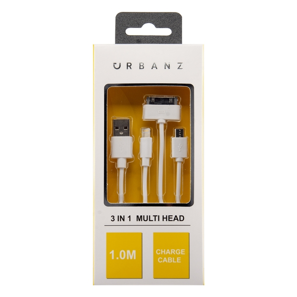 Urbanz INC-LC3-1-WH 3 in 1 USB Charging Cable 1M Lightning, 30 Pin & Micro USB - White