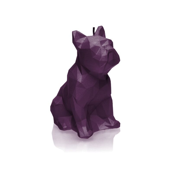 Violet Low Poly Bulldog Candle