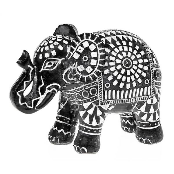 Aztec Elephant Black Small Ornament