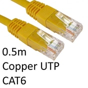 RJ45 (M) to RJ45 (M) CAT6 0.5m Yellow OEM Moulded Boot Copper UTP Network Cable