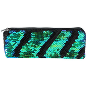 Matte Black and Green Reversible Sequin Pencil Case