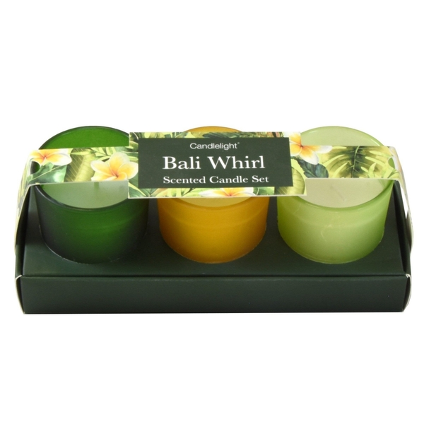 Bali Whirl (Set of 3) Mini Votives Candles in Gift Box Wild Cherry Scent