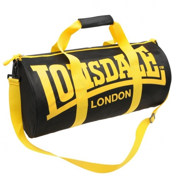 f04408ce6c34 Lonsdale Barrel Bag Black   Yellow - ozgameshop.com