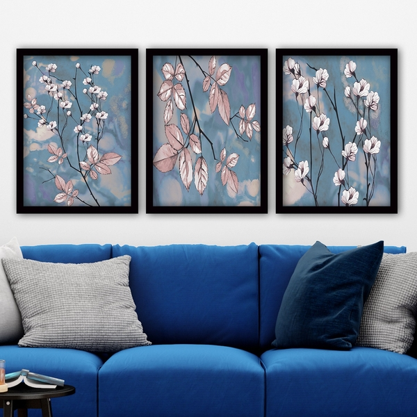 3SC73 Multicolor Decorative Framed Painting (3 Pieces)