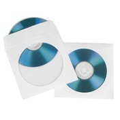 Hama CD/DVD Protective Paper Sleeves, white, pack of 100