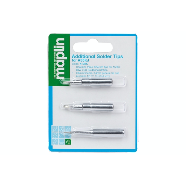 Maplin A19KK Soldering Iron Tips 3pk fits Maplin A55KJ & ATTEN AT-937 and AT-938
