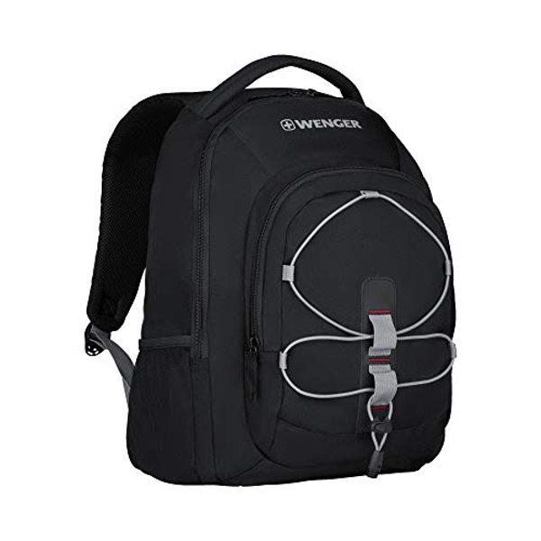"""Image of Wenger 610205 Mars 16"""" Backpack, Padded Laptop Compartment with Front Cording for Holding Accessories in Black {26..."""