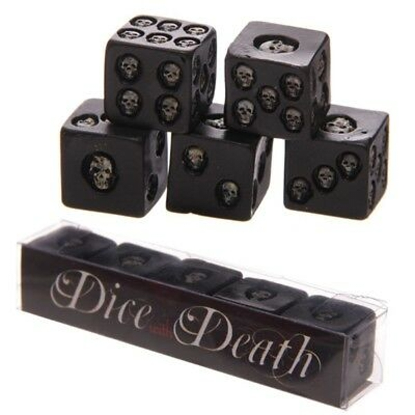 Set of 5 Black Skull Dice - Image 1