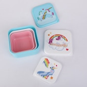 Unicorn Design Set of 3 Plastic Lunch Boxes