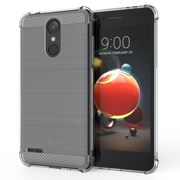 CASEFLEX LG K8 (2018) CARBON ANTI FALL TPU CASE - CLEAR