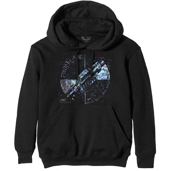 Pink Floyd - Machine Greeting Blue Men's Large Pullover Hoodie - Black