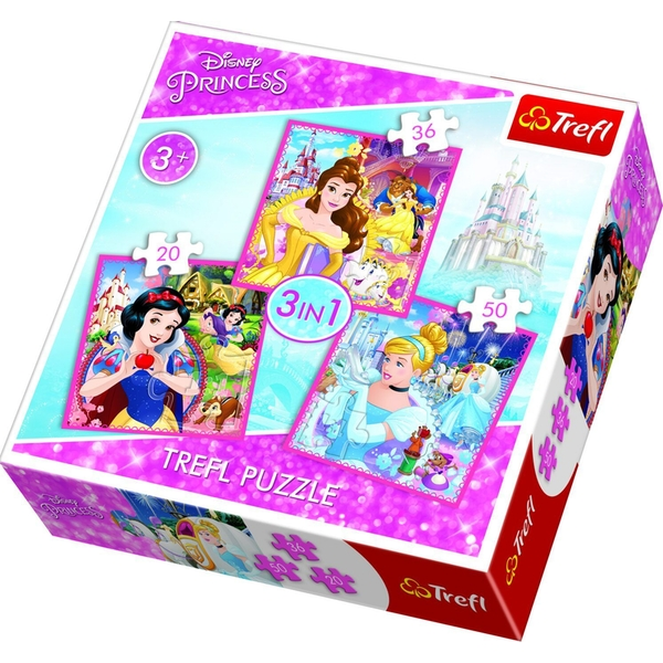 3 in 1 Disney Princesses Jigsaw Puzzle