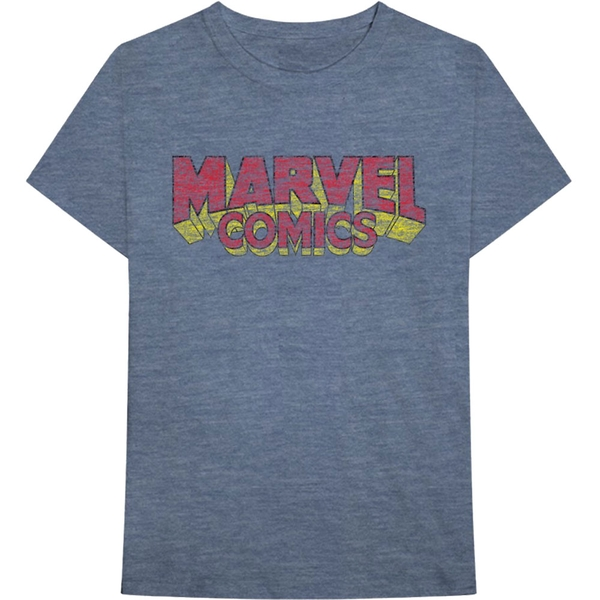 Marvel Comics - Distressed Logo Unisex Small T-Shirt - Blue