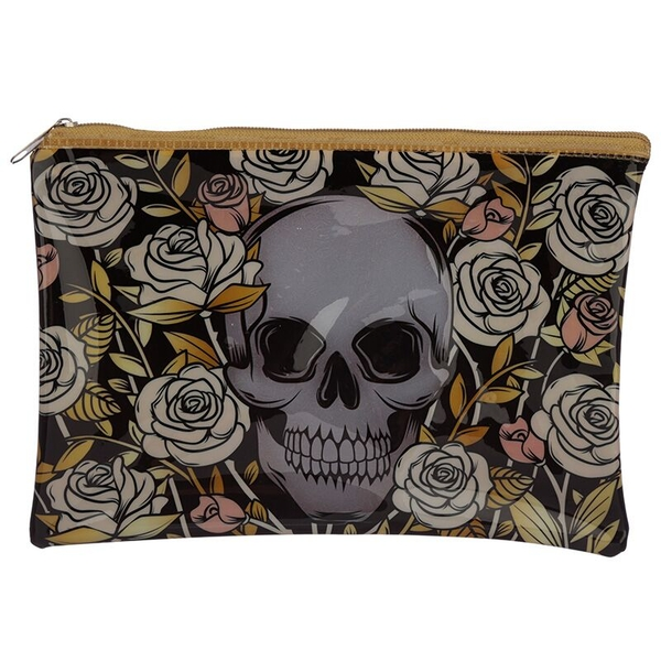 Skulls & Roses Design Handy Clear PVC Toiletry Make-up Bag