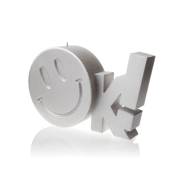 Silver OK Sign Candle