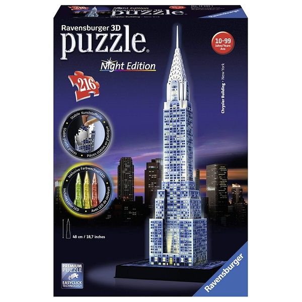 Ravensburger Chrysler Building - Night Edition 216 Piece 3D Jigsaw Puzzle - Image 1