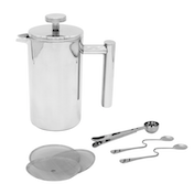 French Press Cafetiere   Steel Coffee Maker   FREE Filters & Spoons   M&W 350ml
