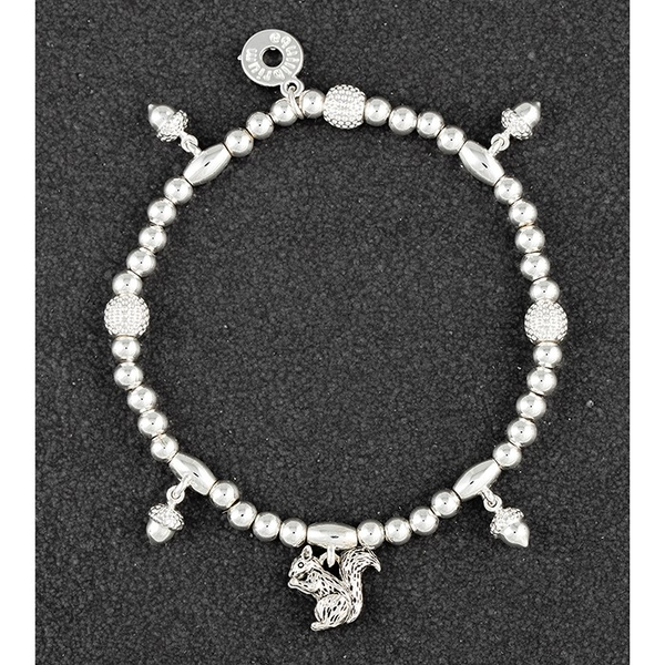 Country Squirrel Acorns Silver Plated Bracelet