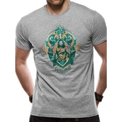 Aquaman Movie - Crest Unisex Medium T-shirt - Grey