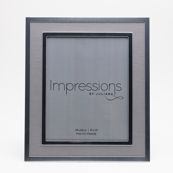 """8"""" x 10"""" - Silver Plated Photo Frame with Grey Linen Insert"""