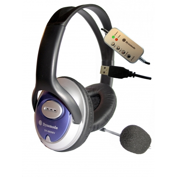 Dynamode USB Powered Skype Compatible Headphones with Microphone DH-660-USB