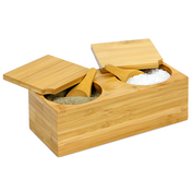 Bamboo Spice Salt & Pepper Box (with 2 spoons)