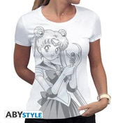 Sailor Moon - Bunny And Moon Stick Women's Medium T-Shirt - White