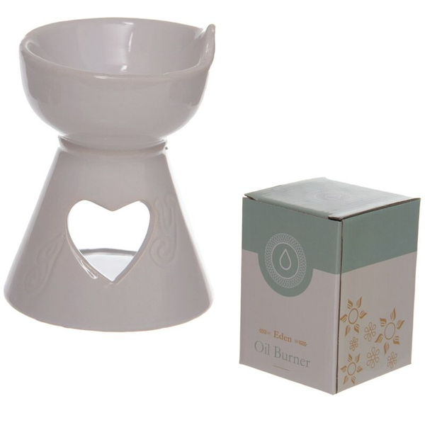 White Heart Cut Out Ceramic Oil Burner