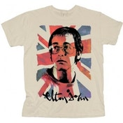 Elton John Union Jack Mens Natural TS: Small