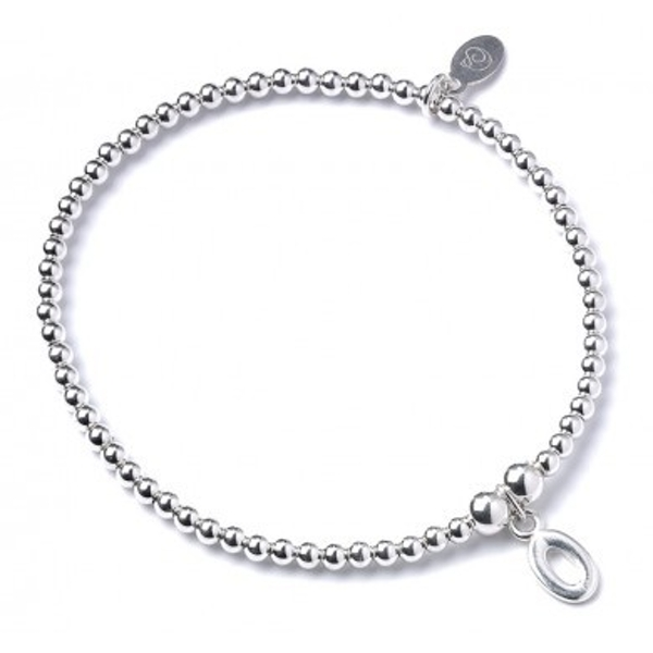 Initial O Charm with Sterling Silver Ball Bead Bracelet