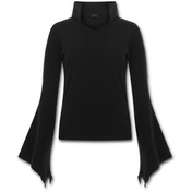 Gothic Elegance High Neck Goth Women's Small Long Sleeve Top - Black