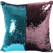 Reversible Blue and Pink Sequin Filled Cushion