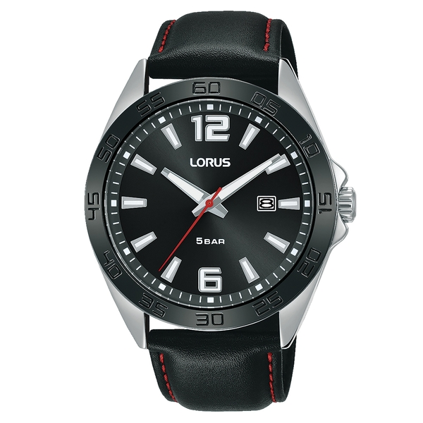 Lorus RH915NX9 Mens Sports Black Leather Watch with Polished Finish Case